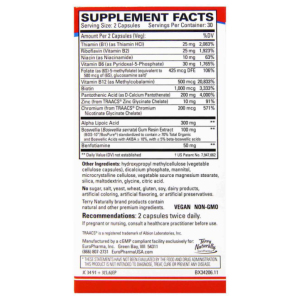 Terry Naturally Healthy feet and nerves supplement facts