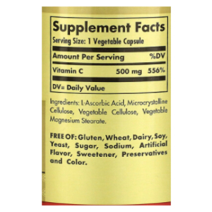 Solgar, Vitamin C, 500 mg, 100 Vegetable Capsules Supplement Facts