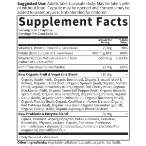 Vitamin Code RAW Iron 30 Capsules Supplement Facts