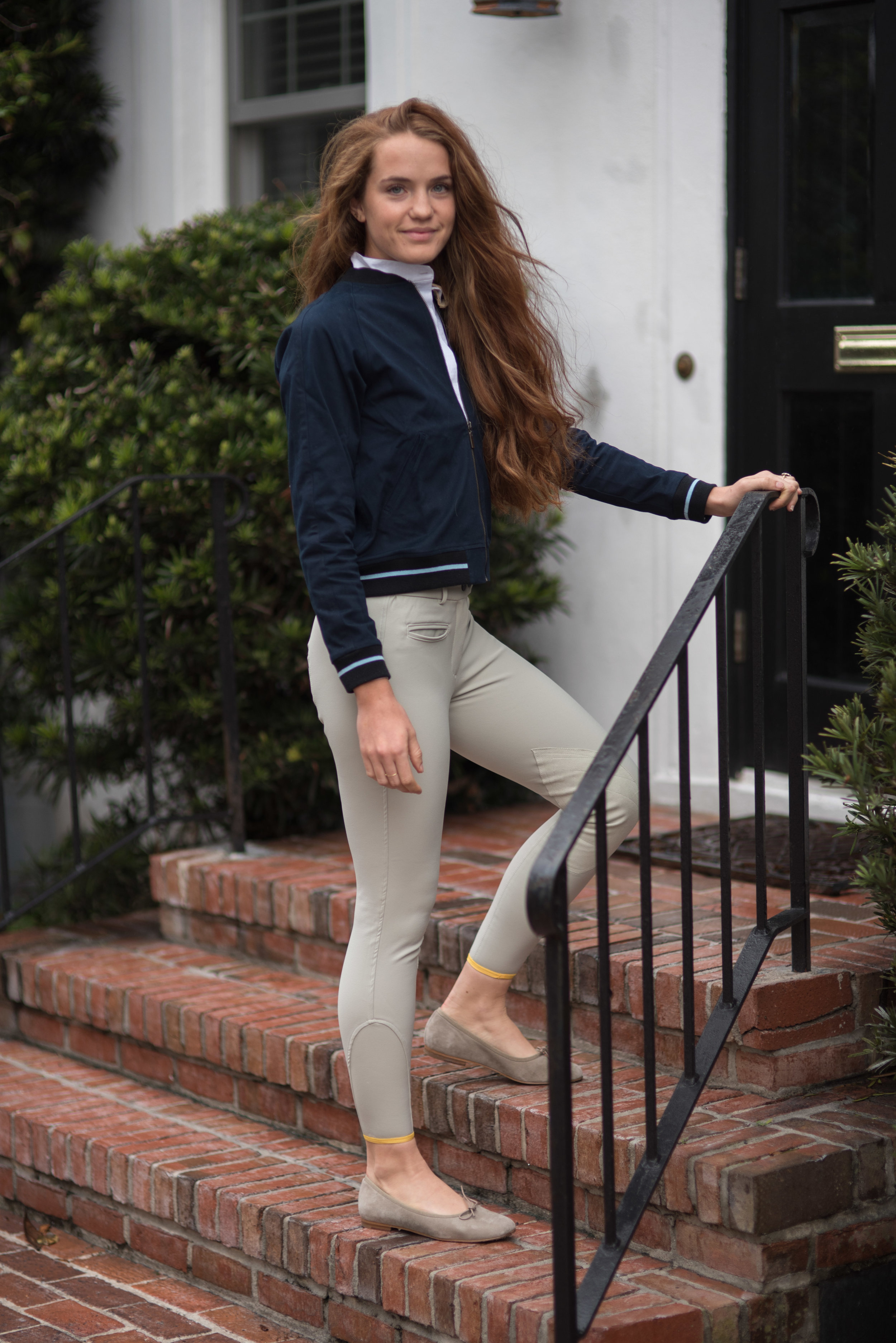 Wearing Callidae breeches, show shirt and bomber with Katharine Page ballet flats