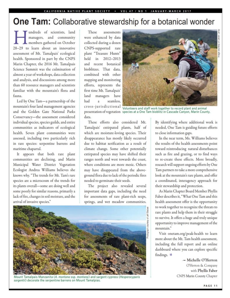 'One Tam: Collaborative stewardship for a botanical wonder' article screenshot