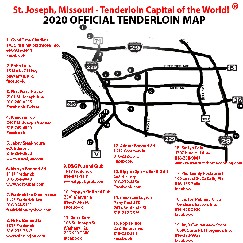 map of St. Joseph, Missouri with list of local tenderloin restaurants