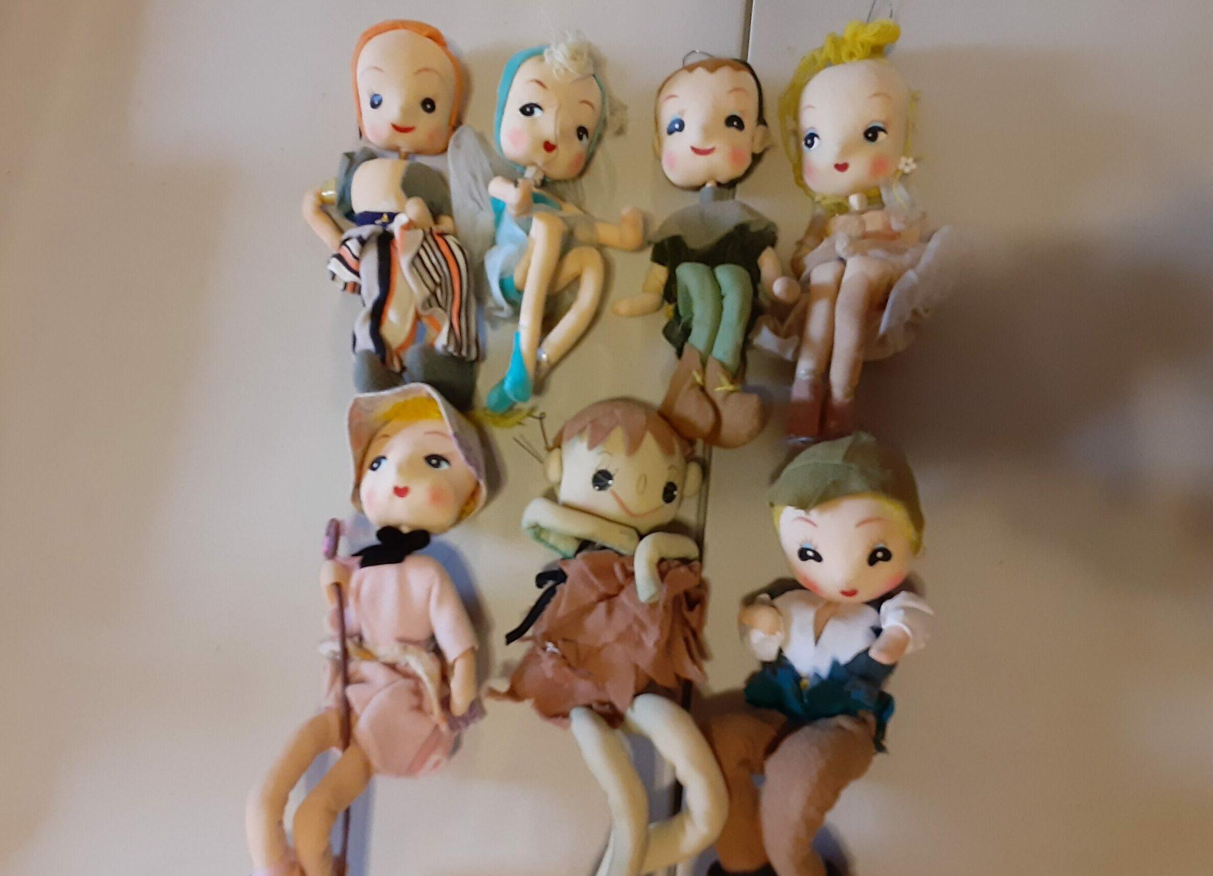 handmade Christmas ornament dolls from 1960s