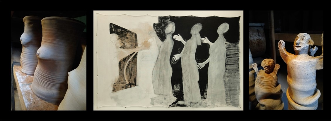 montage of three sculptures