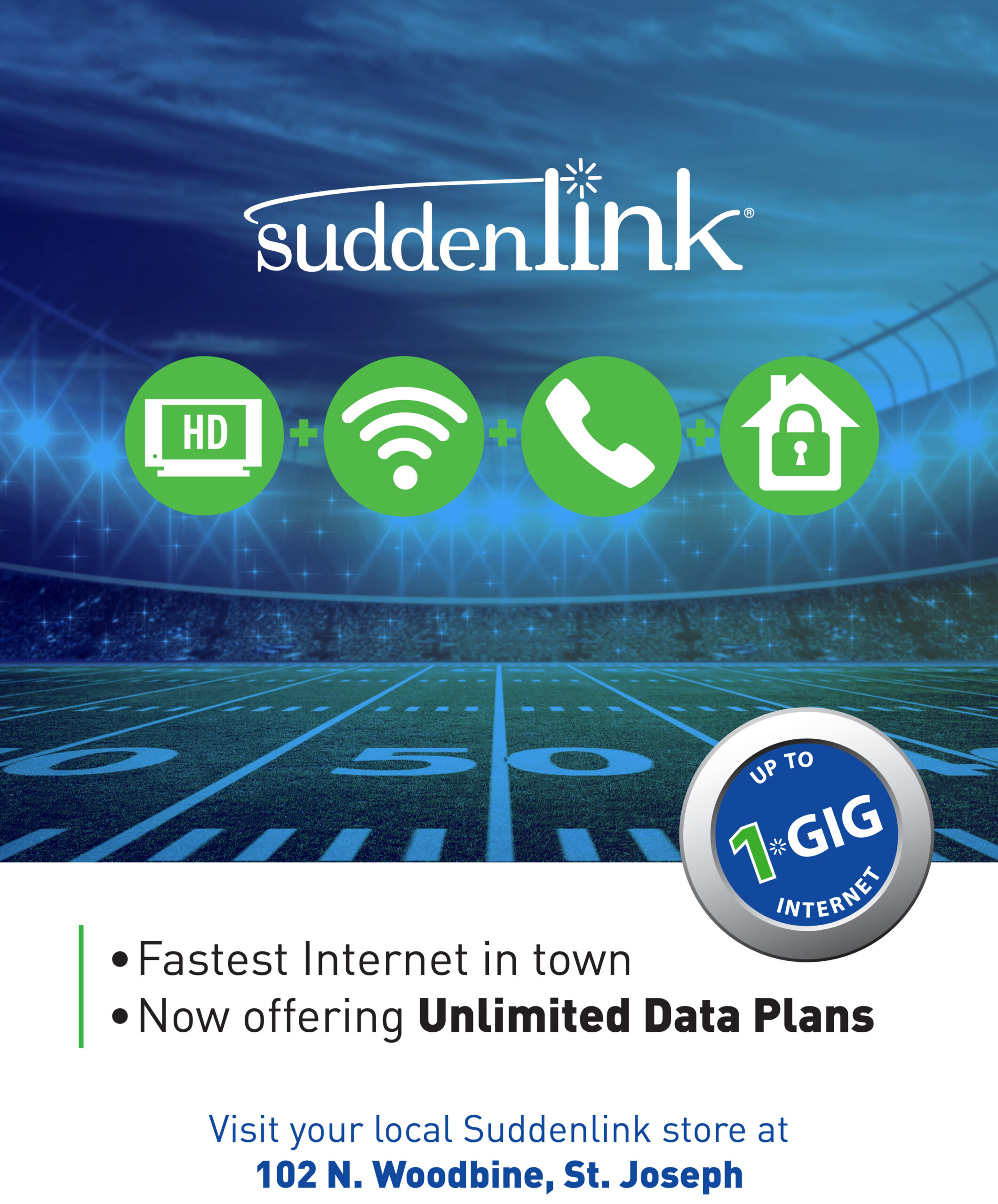 SuddenLink services over flotball field