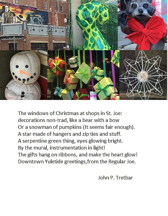 collage of Christmas window displays