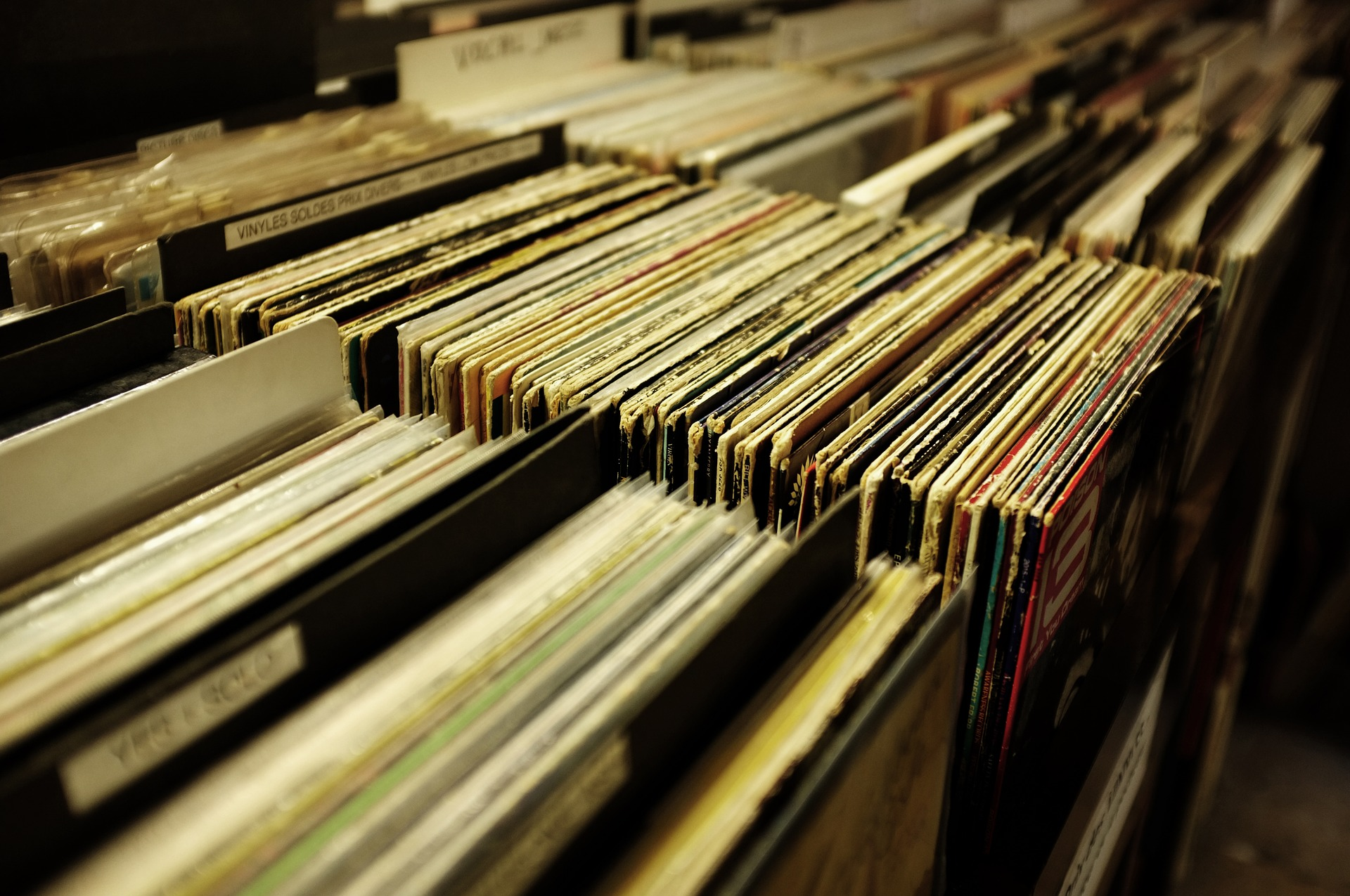 Closeup of record collection