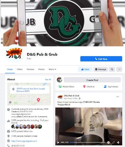 DG Pub and Grub Facebook page
