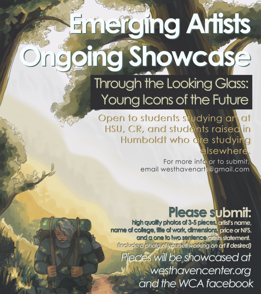 Poster for the ongoing showcase of Emerging Artists: Through the Looking Glass.