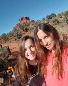 About image of dani and alexandra Bell Rock hike picture of us