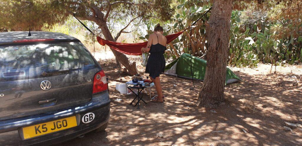 car life camping setup