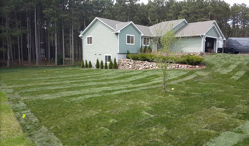 elk river landscaping project with sod and irrigation
