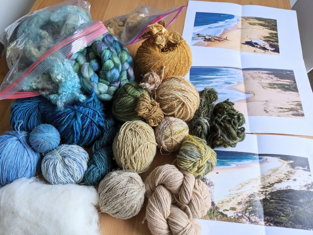sketch and yarn selection for custom tapestry artwork