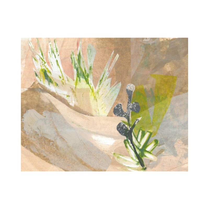 A mixed media collage of desert grasses and sands and in pink earthy tones.