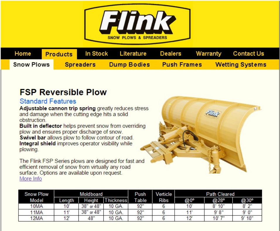 image of flink snow plows brochure