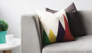 Pillows on a grey couch