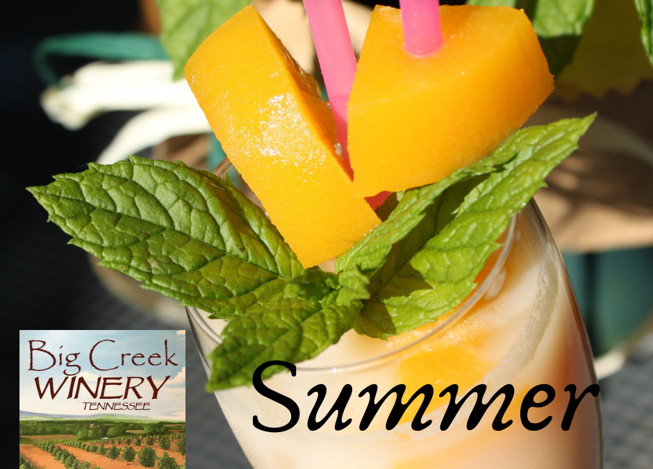 Photo of peach wine in a wine glass topped with peaches and mint and pink straws. The photo says Summer Pulaski Pure Peach and has the Big Creek Winery logo
