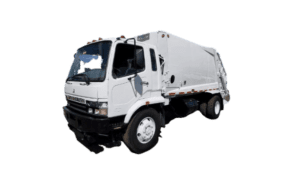 rear loader garbage truck white