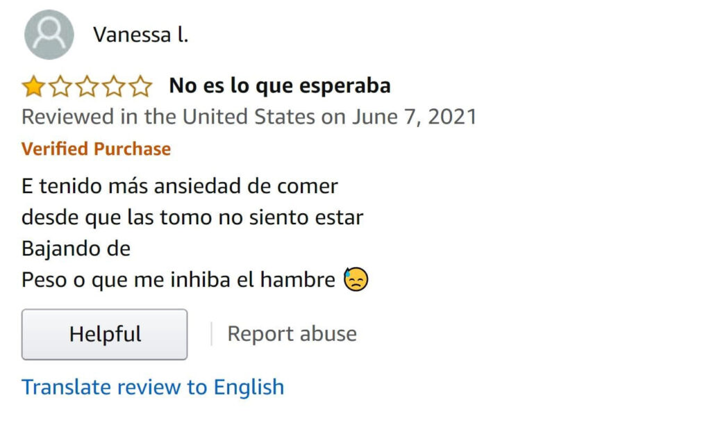 Amazon product review in Spanish