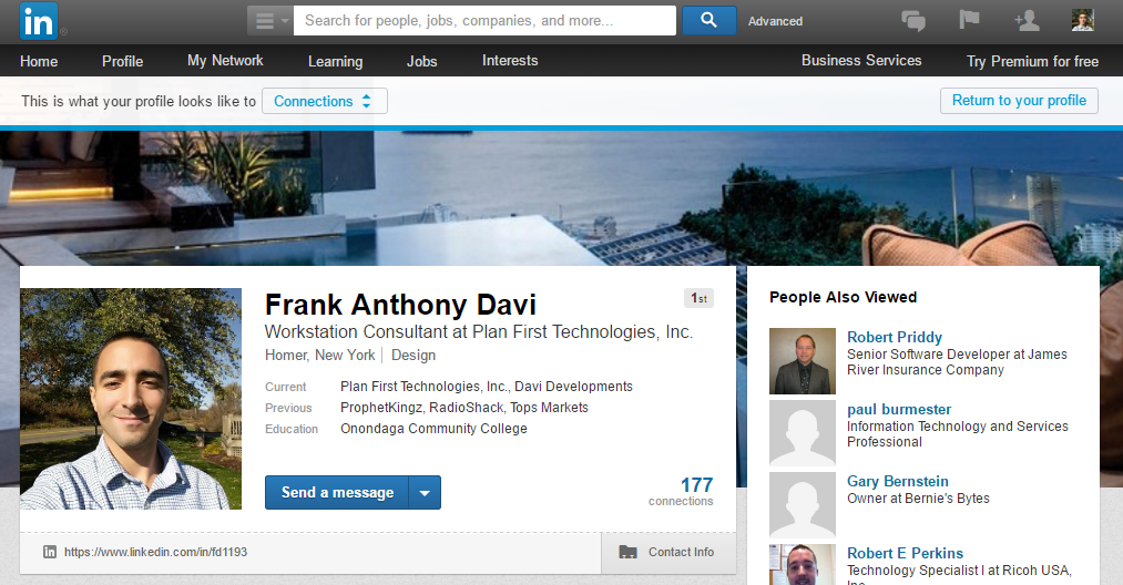 A screenshot preview of my Linked In page, this is where you can find my most updated experience list.