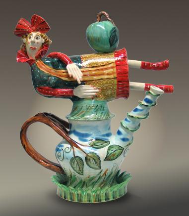 Red Reclining Teapot