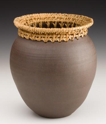 Large Black Mountain Vase with Rattan