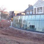 Ott-Construction-Montgomery-County-PA--Commercial-Projects-Concrete-retaining-wall-in-front-of-glass-curtain-wall-Ursinus-College