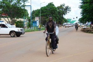 The central main street in the town of Chipata in the Eastern Province of  Zambia