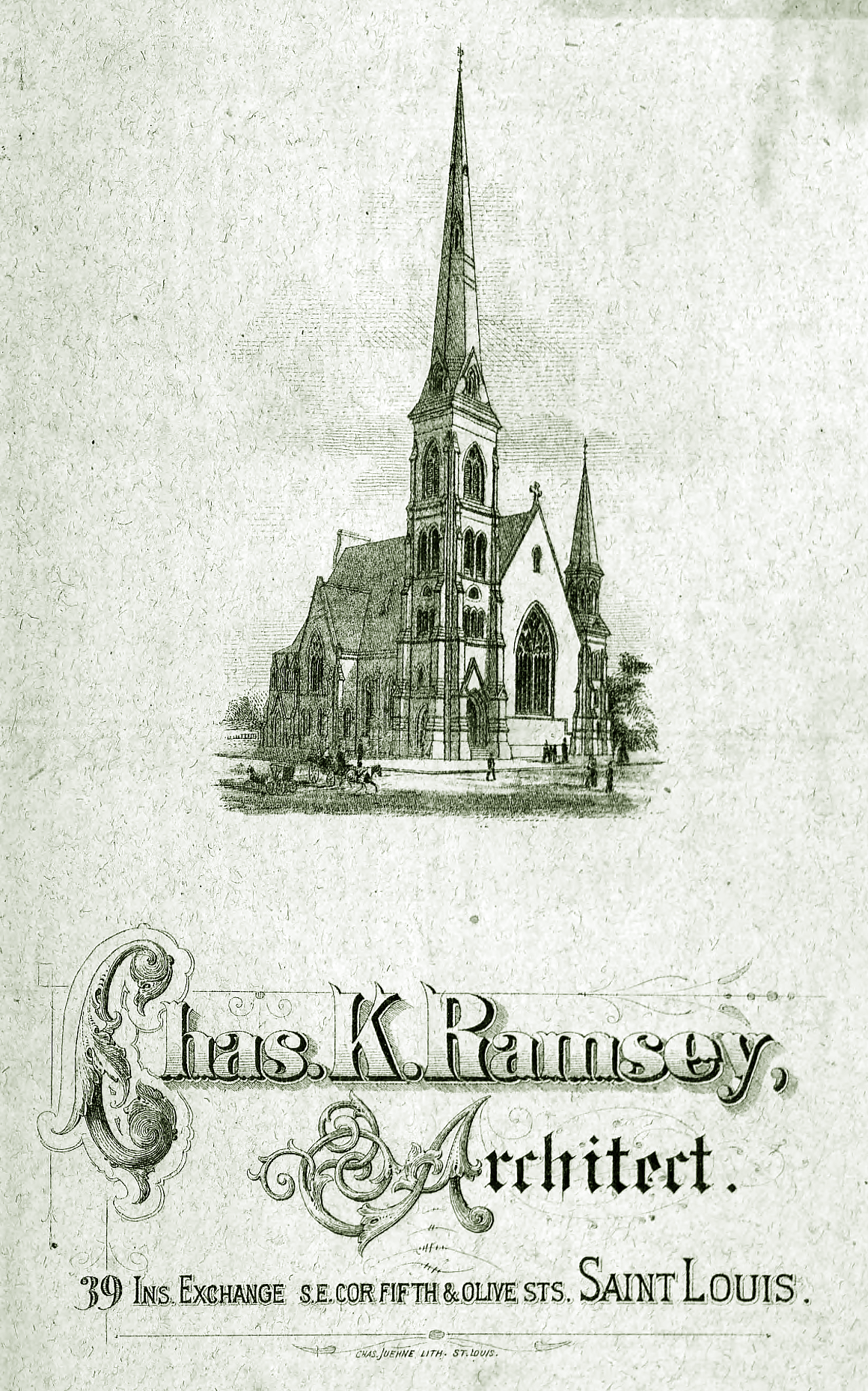 Charles Ramsey Rendering of Central Presbyterian Church at Lucas and Garrison in 1875.