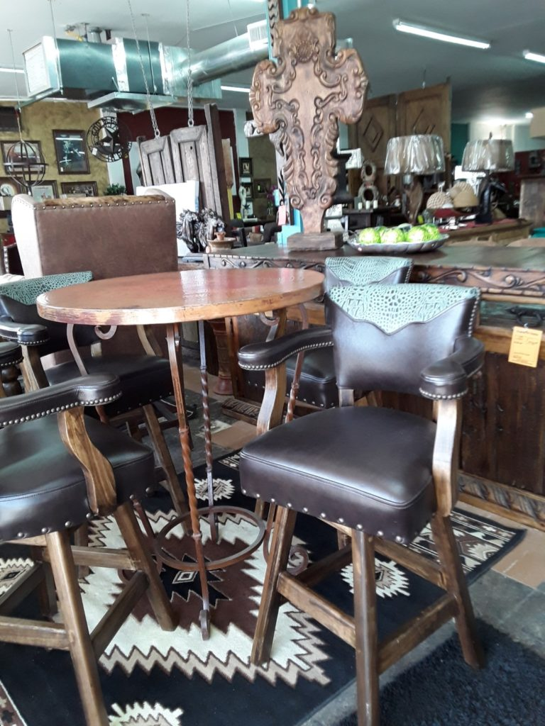 F4 Copper Bar table w Leather bar stool