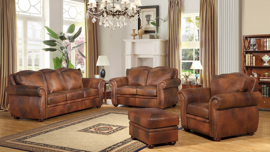 The Arizona is a full-sized Sofa, Loveseat, Chair and Ottoman upholstered in luxurious leather throughout, with padded front sides and back with handcrafted railhead trim. Beautifully sculpted rolled arms and detailed solid wood feet make this a wonderful addition to anyone's home.