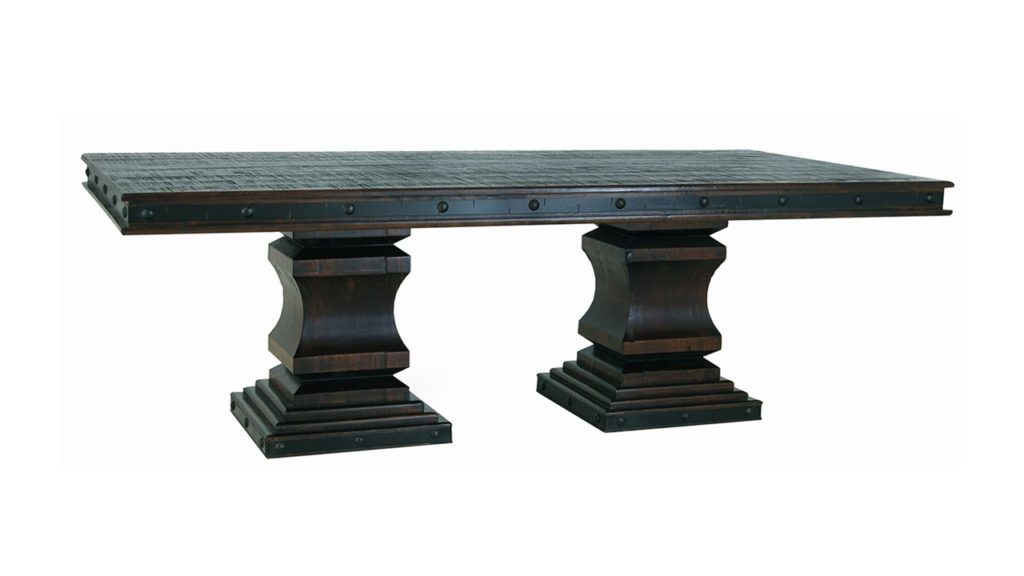 Width: 48 in Length: 96 in Height: 32.5 in   The Grand Hacienda collection is constructed from the more dense and heavy Ponderosa pine. There are numerous iron accents. Tops, backs, bottoms and drawer bottoms are solid wood. No plywood or particle board is utilized. The hinges and drawer pulls are all made of hand-forged iron.  Width: 48 in Length: 96 in Height: 32.5 in