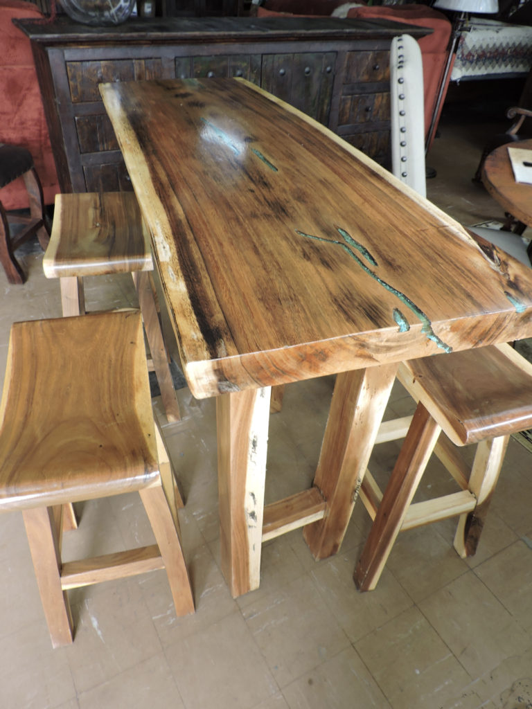 Bar-Table-set teak wood turquoise inlay