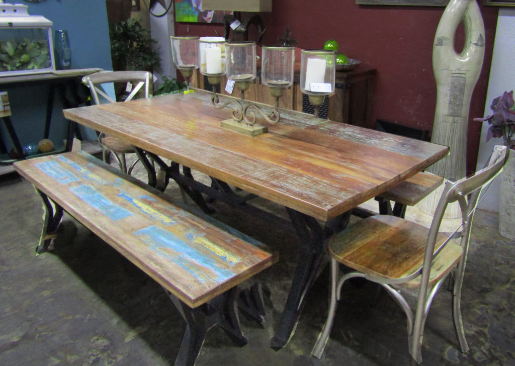 Distressed dining table, 2 chairs & bench