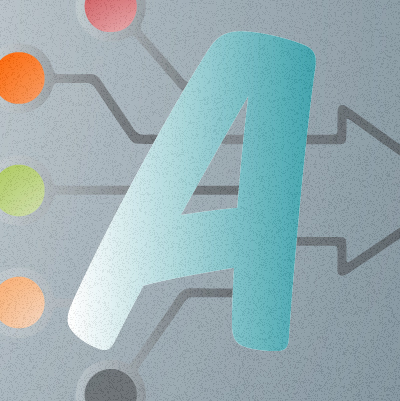 An illustration showing the letter A used to show marketing automation.