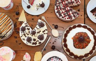 An overhead photo of frozen custard pies and cakes from Julie Ann's in Crystal Lake, IL.