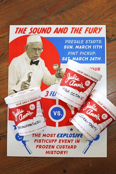 A photo of a poster with pint trio.