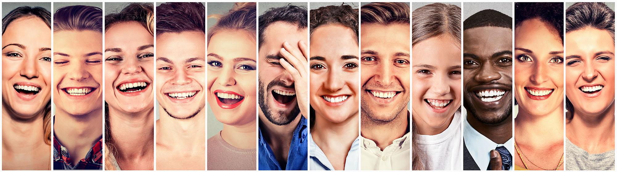 Laughing people. Group happy men, women, children