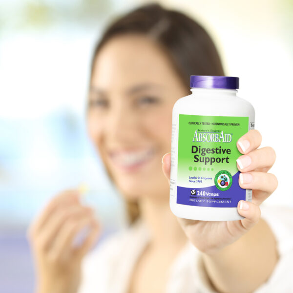 AbsorbAid Original 240 Digestive Enzymes woman recommending