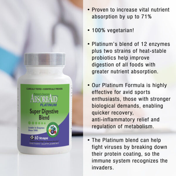 AbsorbAid Platinum 60 Digestive Enzymes features