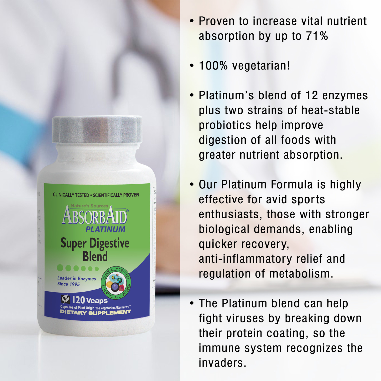 AbsorbAid Platinum 120 Digestive Enzymes features