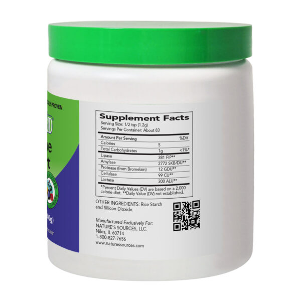 AbsorbAid Original 100g Digestive Enzyme Powder back of bottle