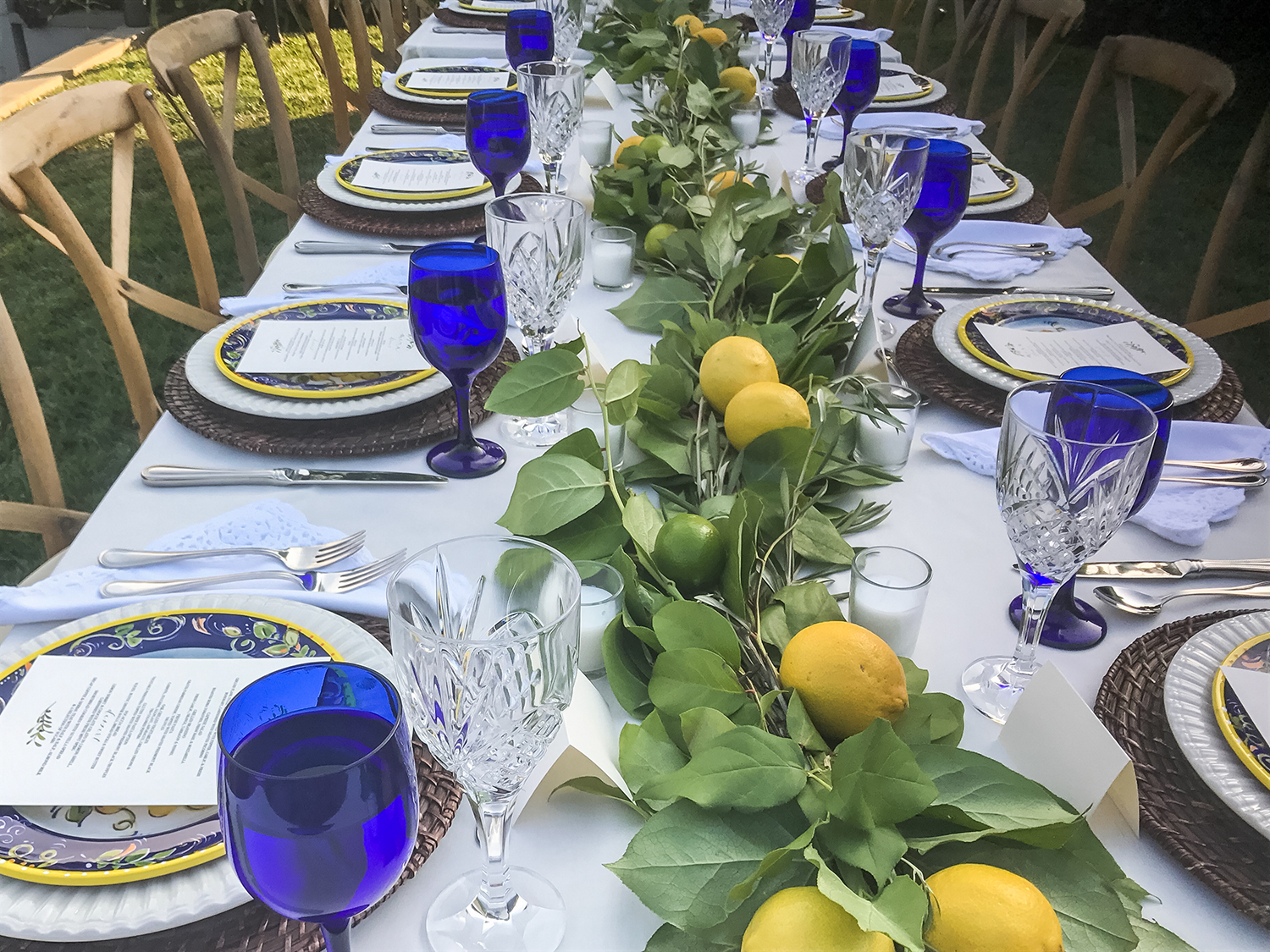 Outdoor Table setting - blue glassware