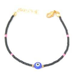 Gemstone, Evil Eye, Black Bracelet