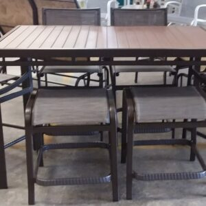 "36""x 60"" Poly Top Table with 2 Backless Stools2 Counter Stools Armless 2 Counter Stools with Arms 7pc Set $1459.99"