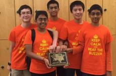 The T.H. Rogers team shows off their state championship placard. Image courtesy of HISD News Blog.