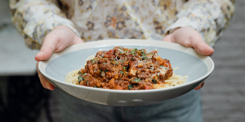 bowl of pasta with sauce