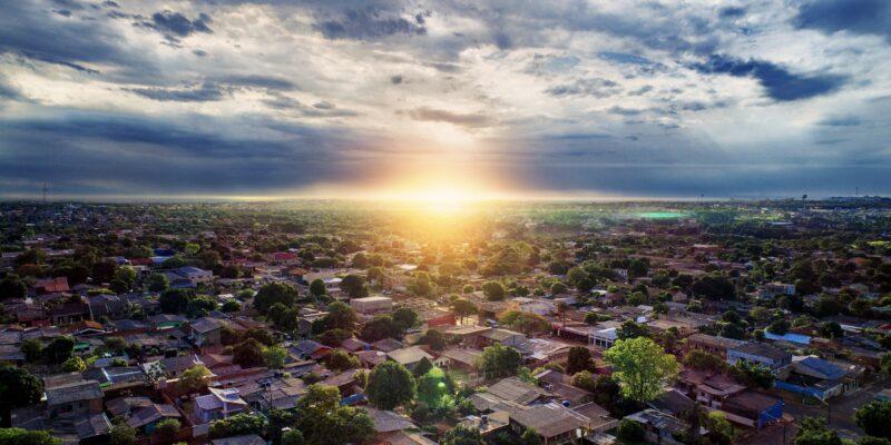 Neighborhood at sunset