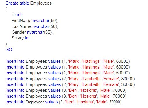 SQL Script to populate the data to the Employee table