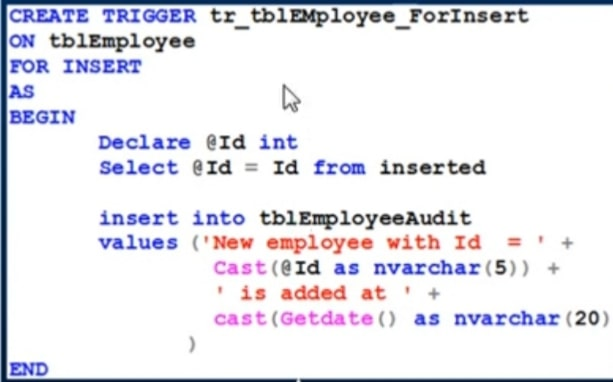 Sample query for inserted trigger